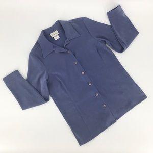 Tradition Microfibre Blue Button Down Shirt, Small